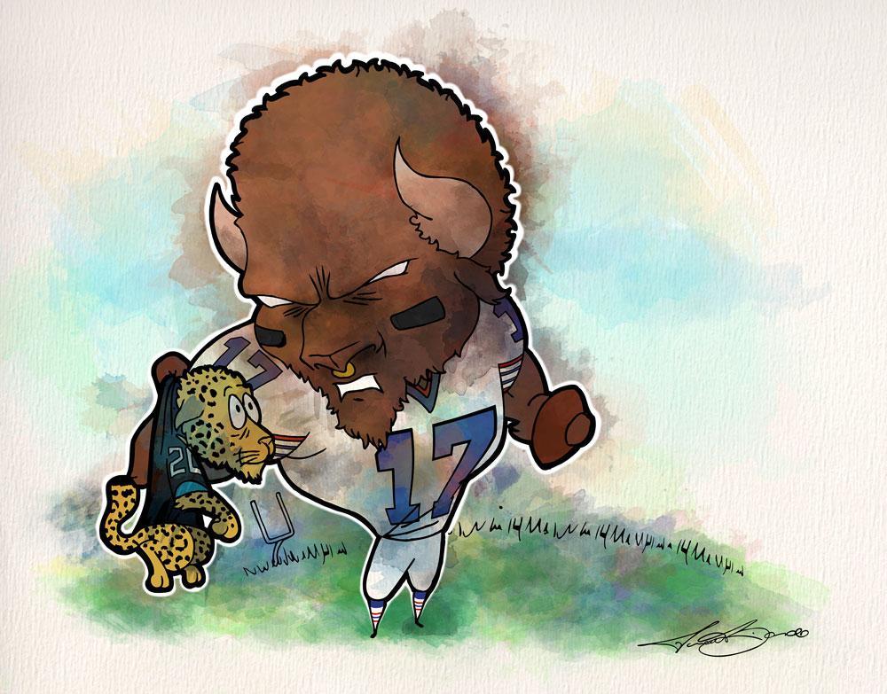 Buffalo Bills Josh Allen Jalen Ramsey Jaguars Biondo Art