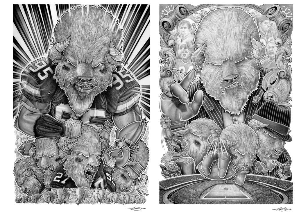Buffalo Bills Illustrations - Lead The Charge - Buffalo Bosses - Biondo Art