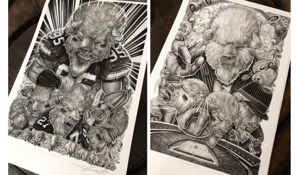 Buffalo Illustrations Prints - Biondo Art
