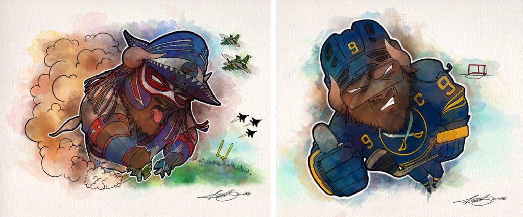 Pancho Billa and Jack Eichel Buffalo Illustrations - Biondo Art