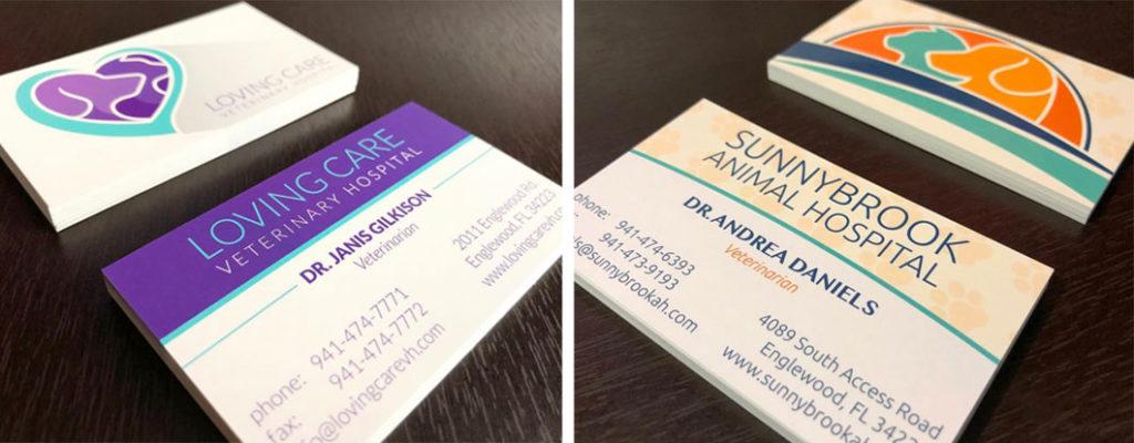 Loving Care Veterinary Hospital and Sunnybrook Animal Hospital Business Cards