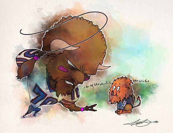 Week 5: Buffalo Bills vs. Detroit Lions - Eric Wood print for sale by Biondo Art