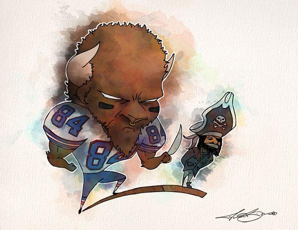 Week 16: Buffalo Bills vs. Oakland Raiders - Scott Chandler print for sale by Biondo Art