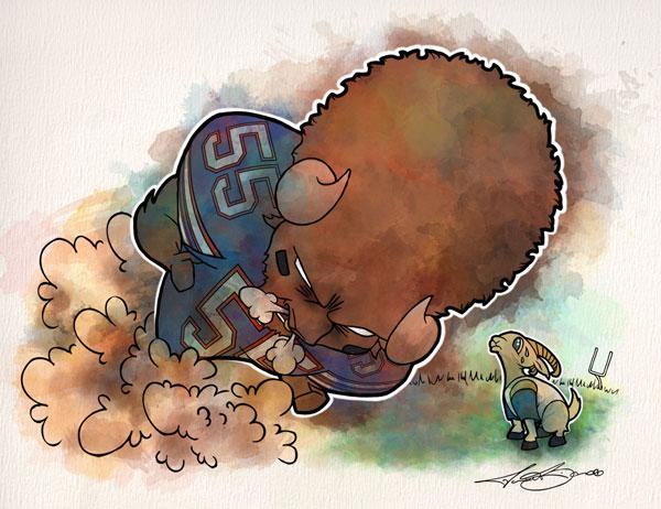 Week 5: Buffalo vs. Los Angeles print for sale by Biondo Art