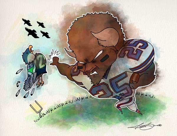 Week 9: Buffalo vs. Seattle print for sale by Biondo Art