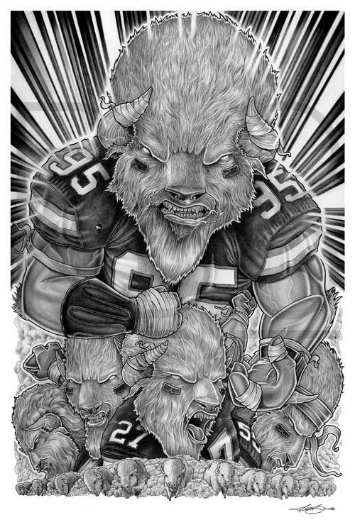 Buffalo Bills Pencil Drawing Illustration