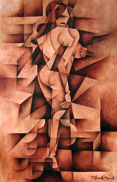 Eve cubism woman figure painting print for sale by Biondo Art