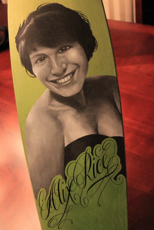 Alix Rice Longboard Painting by Michael Biondo