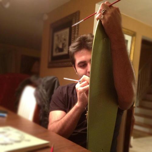 Michael Biondo Painting the Alix Rice Longboard