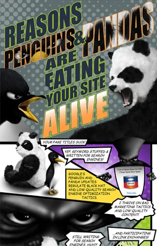 Reasons Penguins & Pandas Are Eating Your Site Alive Infographic | Mainstreethost | Michael Biondo