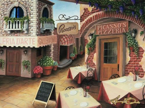 Picasso's Pizzeria Pastel Drawing by Michael Biondo