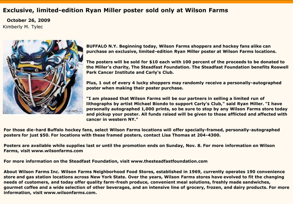 Wilson Farms Press Release for Miller Time - Ryan Miller portrait print